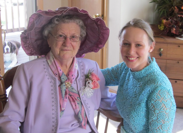 With Grandma, at her 90th Birthday Tea Party (on the farm), May, 2011